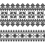 Traditional folk Ukrainian embroidery pattern in black and white - 133171964