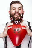 Funny bearded man with hearts Valentine