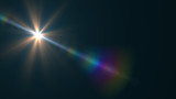 Lens Flare light  over Black Background. Easy to add  overlay or screen filter over Photos  - 133180586