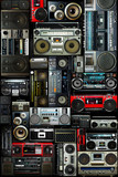 Fototapety Vintage wall full of radio boombox of the 80s