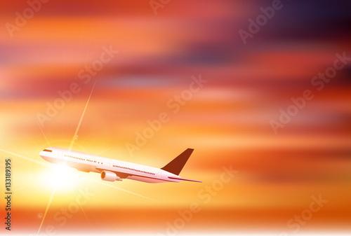 Poster 飛行機 空 夕日 背景
