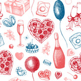 Valentines Day Background. Seamless vintage pattern with hand drawn holiday elements sketch. Vector illustration.