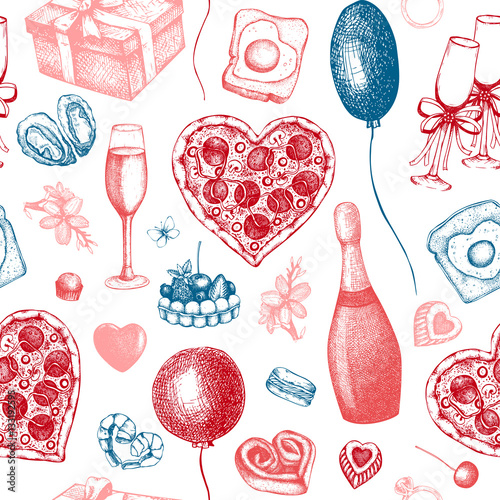 Cotton fabric Valentine's Day Background. Seamless vintage pattern with hand drawn holiday elements sketch. Vector illustration.