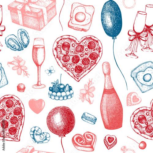 Materiał do szycia Tło valentine's Day. Vintage wzór z ręcznie rysowane wakacje elementy szkicu. Ilustracja wektorowa.