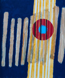 An abstract painting; roughly painted vertical bars and red torus - 133193533