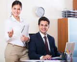 business team smiling in office