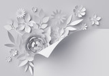 3d render, digital illustration, white paper flowers, floral background, page corner decoration