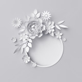3d render, digital illustration, white paper flowers, floral background, blank banner, round frame, holiday wreath