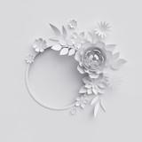3d render, digital illustration, white paper flowers, floral background, blank banner, round frame, holiday wreath