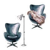 Armchair with and without throw - Watercolor Illustration.