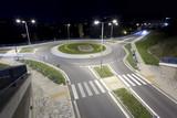 modern traffic roundabout at night, Banska Bystrica, Slovakia