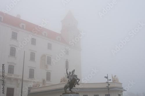 Poster Medieval castle in the mist, Bratislava, Slovakia