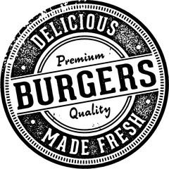 Vintage Burgers Restaurant Menu Sign
