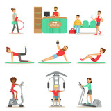 People Member Of The Fitness Class Working Out, Exercising With And Without Sport Simulators, Training In Trendy Sportswear