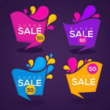 super  sale, vector collection of bright discount bubble tags, b