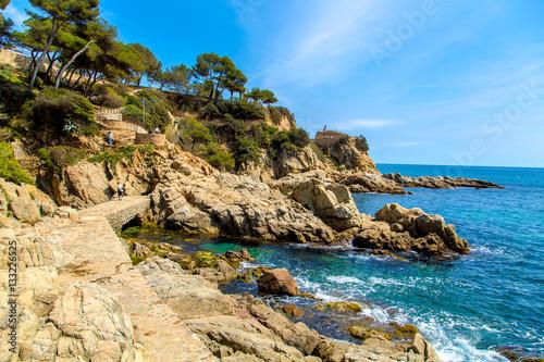 Fotobehang Seaside landscape of Catalonia, vivid color view