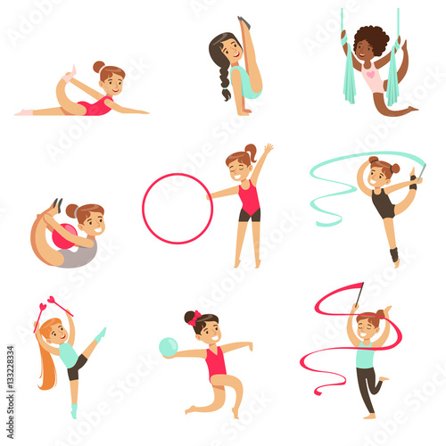 Little Girls Doing Gymnastics And Acrobatics Exercises In Class Set Of Future Sports Professionals © topvectors