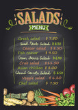 Salads menu list chalkboard design with vegetables