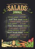 Salads menu list chalkboard design with vegetables