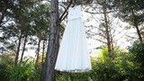 beautiful wedding dresses in boutique.