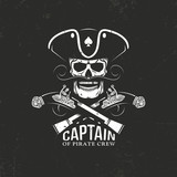 Pirate emblem captain skull in cocked hat and crossed pistols on a black backdrop. Grunge texture and background on separate layers.