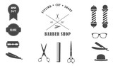 Vector collection of barber shop, hair saloon - design elements, logo, emblem, badge. Including hat, blade, comb, scissors and other elements.