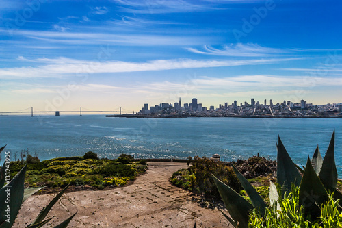 Poster Downtown San Francisco and the Oakland Bay Bridge from the Warden's Garden on Al