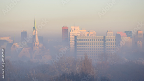 Łódź w smogu. Polska.