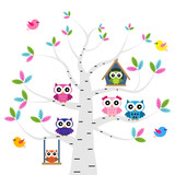 Vector set of a colorful owls at the birch tree - 133251545