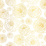 Fototapety Vector Golden On White Peony Flowers Summer Seamless Pattern Background. Great for elegant gold texture fabric, cards, wedding invitations, wallpaper.
