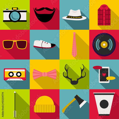 Aluminium Hipster Hert Hipster items icons set, flat style