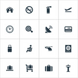 Set Of 16 Simple Airport Icons. Can Be Found Such Elements As Global Research, Credit Card, Air Transport And Other.