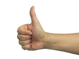 Male Thumb up sign isolated white