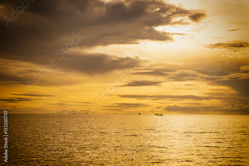 Poster abstract sunset scene in the sea with golden vintage filter - can use to display