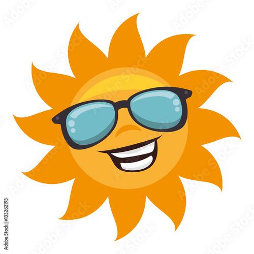 sun with sunglass character vector illustration design