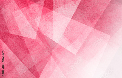 abstract background design, geometric lines angles shapes in white layers of transparent material on pink background color