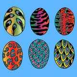 Illustration of animal patterns Easter egg set. Sketchy style.