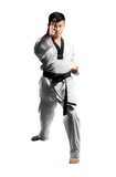 Portrait of a handsome asian man with taekwondo black belt . Iso