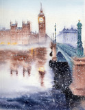 Handwork watercolor illustration. The Big Ben, the Houses of Parliament and Westminster Bridge in London.Winter landscape. - 133282106