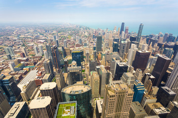 Aerial view of Chicago downtown at foggy day