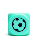 Turquoise dice depicting football
