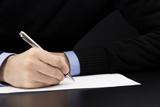 mano, scrivere, firmare, lettera, contratto