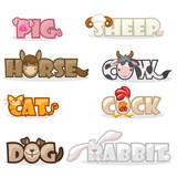 cartoon pets, funny cute animal text name