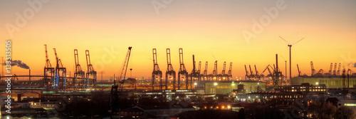 Hafensilhouette Hamburg am Abend Poster