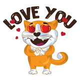 Cartoon vector ginger cat in love. Vector illustration.