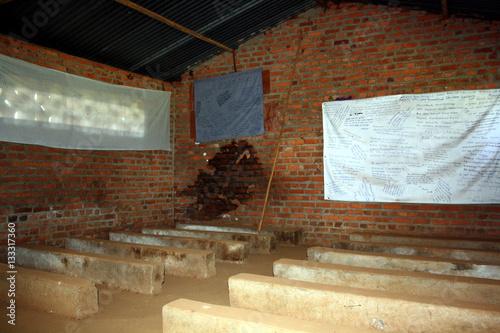 Poster former Ntarama church school, part of Ntarama Genocide Memorial Centre, Kigali P