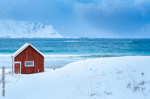 Poster Rorbu House, beach, Lofoten, Norway