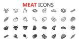Fototapety Simple modern set of meat icons.