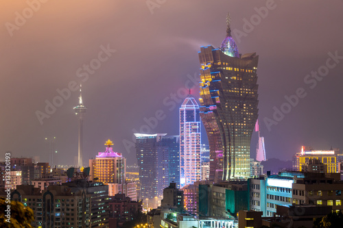 Poster Macau cityscape night