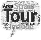 Unique Tours Of Spain text background wordcloud concept
